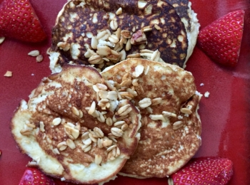 Gluten Free, Mostly Paleo Pancakes with Healthy Granola